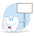 Tooth Cartoon Character Holding A Blank White Sign vector image