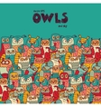 Birds crowd color owls and empty place blue sky vector image vector image