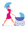 nanny woman walking with a baby carriage vector image