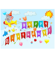 Birthday background with elephant on plane vector image