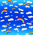 rainbow clouds vector image vector image