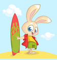 cartoon summer holiday background with rabbit surf vector image
