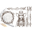 girl in a cowboy hat for coloring portrait of a vector image