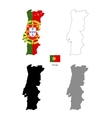 Portugal country black silhouette and with flag on vector image
