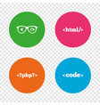 programmer coder glasses html markup language vector image