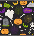 seamless pattern with halloween elements on black vector image