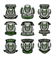 set of military logos emblems skull helmet vector image