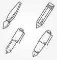 Writing tools Pencil pen fountain pen brush ballpo vector image