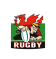 Rugby player scoring try wales flag vector image
