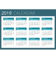 Calendar for 2019 Week Starts Sunday Simple vector image