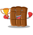 boxing winner chocolate character cartoon style vector image