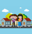 family members in front of the house vector image