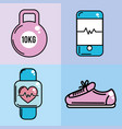 healthy lifestyle tools icons to practice exercise vector image