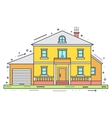 Modern house in thin line style vector image