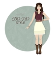 Young beautiful woman Boho style fashion girl vector image