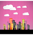 Abstract Retro Paper City with Clouds and Pink vector image