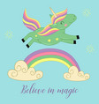 card with unicorn over the rainbow vector image