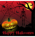 happy halloween carved pumpkins and scary skeleton vector image