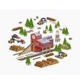 Lumber mill Sawmill building vector image