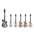 Vintage Electric Guitars on White Background vector image