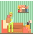 Loader Taking Out Packed Boxes From The Room vector image
