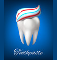 tooth with toothpaste poster for dentistry design vector image vector image