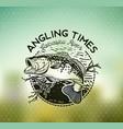 bass fishing emblem on blur background