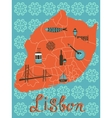 Colorful stylized map of Lisbon with tipical icons vector image vector image