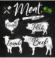 Set meat silhouettes chalk vector image vector image