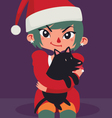 Christmas Girl Sitting with a Dog on her Lap vector image