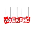 colorful hanging cardboard Tags - weekend vector image