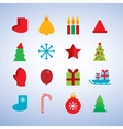 Character set new year snowflakes socks mittens vector image