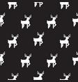 deer black and white kid silhouette pattern vector image