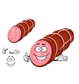 Funny beef sausage character with thumb up vector image
