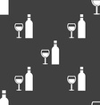 Wine Icon sign Seamless pattern on a gray vector image
