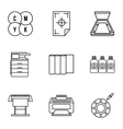 Print icons set outline style vector image