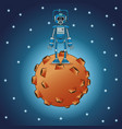 robot engineer moon space stars vector image