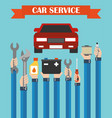 car service concept design flat with hands vector image