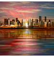 abstract background with panorama of city and pink vector image
