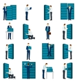 Flat Datacenter Icons Set vector image