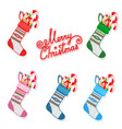 christmas sock with sweets set vector image