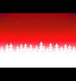 Christmas tree snow red sky vector image