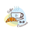 Coffee and croissant emblem vector image