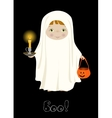 Halloween Boo card with cute ghost vector image