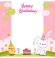 Happy Birthday card with a bunny and bird vector image