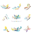 Rainbow butterfly icons set vector image