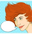 Retro red-haired woman smiling with speech bubble vector image