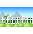 Scene with fence and garden vector image