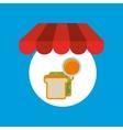 shopping online sandwich orange vector image