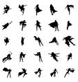 Superhero woman silhouettes set vector image
